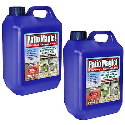 2x Patio Magic 5L Decking Fence Mould Algae Killer Remover Path Driveway Cleaner