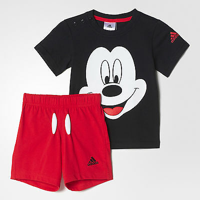 Size Infants 2-3 Years - Official Adidas Mickey Mouse T Shirt & Short Set  Black