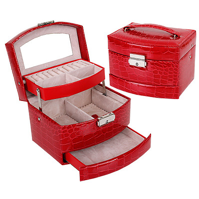 Jewelry Box Storage Organizer Case Ring Earring Necklace Mirror PU Leather