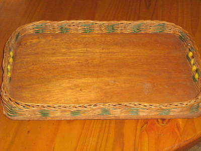 Large Vintage RETRO Cane Serving Tray with Beaded Handles