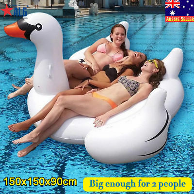Inflatable Leisure Giant Swan Float Toy Rideable Raft Swimming Pool Celebrity EP