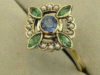 C458- ELEGANT Genuine 9K Gold NATURAL Sapphire,Emerald & Pearl Ring in your size