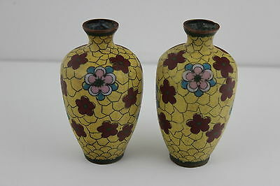 Antique Chinese Pair of Bud Cloisonne Vases 9.5cm High