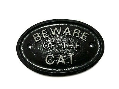 Silver 'Beware Of The Cat' - House/Gate/Wall Sign In Black With Raised Letters