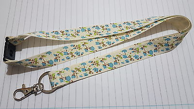Blue Flowers Handmade Neck Lanyard  For Key / Card Holder