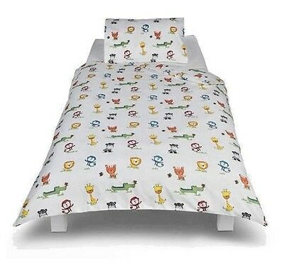 New Safari Animals Toddler Bed Duvet Cover & Pillowcase Junior Cot  Lion Monkey