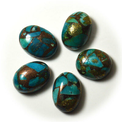 46.6 Ct 5 Pcs Copper Turquoise Oval Natural & Original Loose Gemstone Lot 5JA