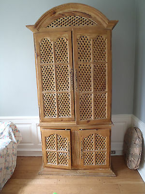 Rustic Antique Mexican Lattice Armoire Solid Natural Pine Wood