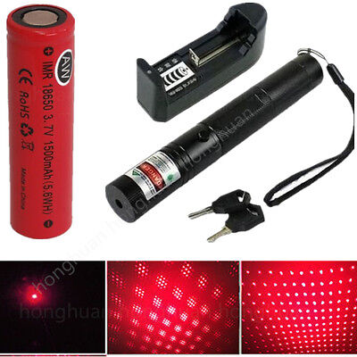 Military 303 Red 1mW 650NM Laser Pointer Pen Light Beam + Battery Charger