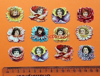 Collection  12 X Small Victorian Embossed Scraps Girls Faces In Flowers