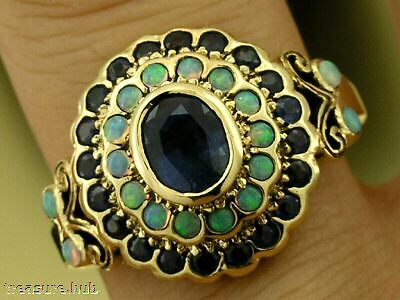 C797- SUPERB Genuine 9ct Gold Natural Sapphire & OPAL Cluster Ring in your size
