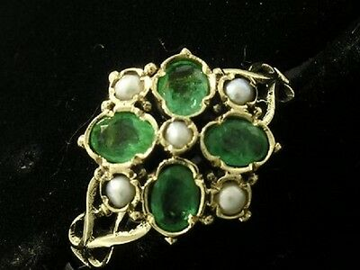 C1049- Genuine 9ct Gold NATURAL Emerald & Pearl Keltic Flower Ring in your size