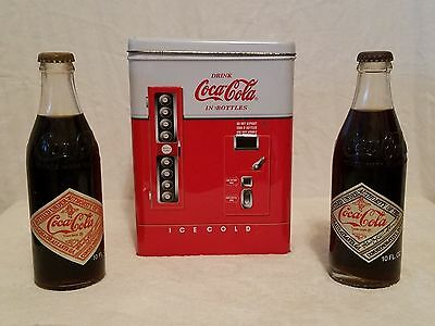 Coca Cola Vending Machine Tin 1997 & Coca Cola Collector Bottles