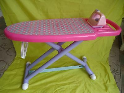 LARGE TOY IRONING BOARD & IRON plus 3 dolls clothes HANGERS - ROLE PLAY