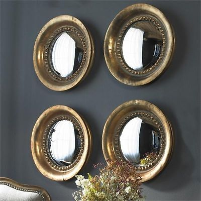Old World French Tuscan Round Convex Wall Mirror Oxidized Copper Finish ~ Set/4