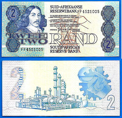 South Africa 2 Rand 1983 1989  in Afrikaans Sign 6 De Kock Free Shipping