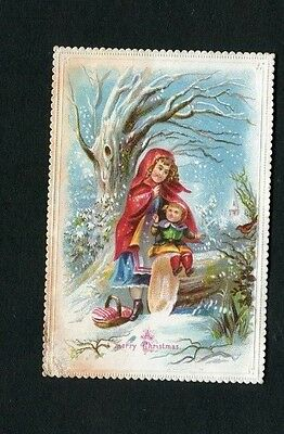Victorian Christmas Card , small ,early ,Girl in Red Cloak ,Child,Snow ,basket.