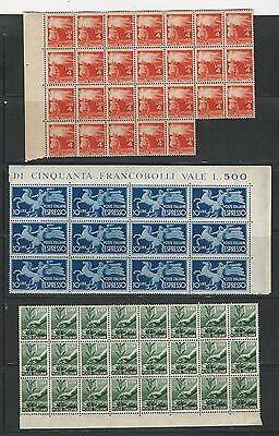 Italy: small lot of 7 different stamps in blocks and strips mint NH, ... IT67