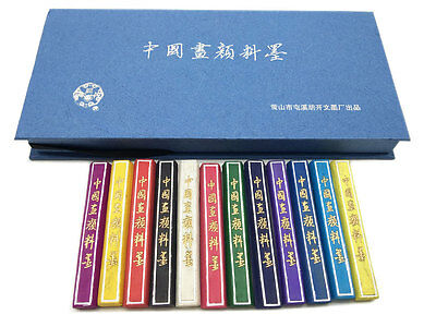 Hukaiwen Ink Stick 12 Colors for Chinese Japanese Painting Large Size
