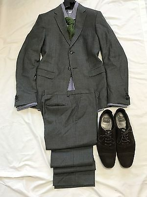 JIL SANDER Mens Suit MADE IN ITALY 2 Button Gray BUTTON FLY Pants 40R SLIM FIT