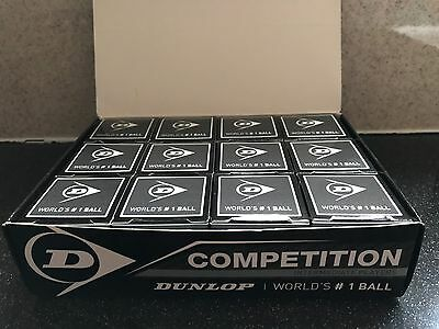 12 Dunlop Competition Single Yellow Dot Squash Balls, Official ball of WSF, PSA