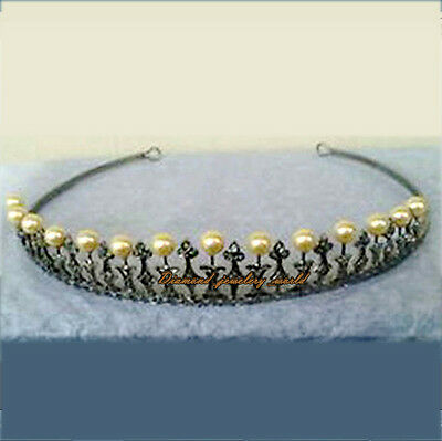 Vintage Estate 5.82cts Pave Rose Cut Diamond Pearl Sterling Silver Tiara Jewelry