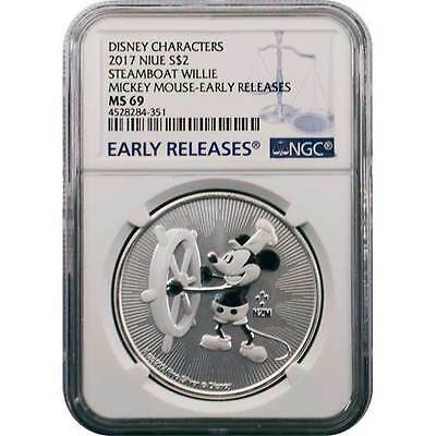 2017 Niue $2 1 oz. Silver Mickey Mouse Steamboat Willie NGC MS69 Early Releases
