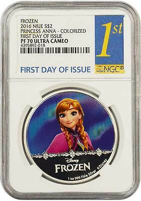 2016 Frozen Disney Princess ANNA NGC PF70 FDOI NIUE 1 oz Proof Silver Coin