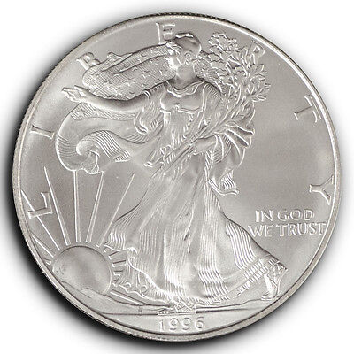 1996 American Silver Eagle 1 oz One Dollar Coin in Capsule