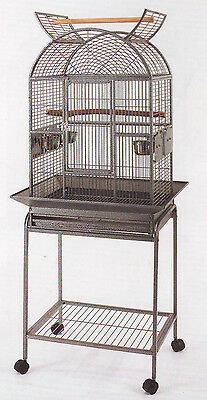 NEW Open Dome Top Wrought Iron Cage For Small Parrot Bird Removable Stand - 158