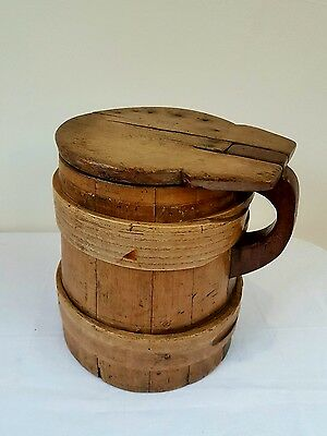 Victorian c1880 Kitchen Pine Scandanavian Flour Jug with Lid. Great Patina.