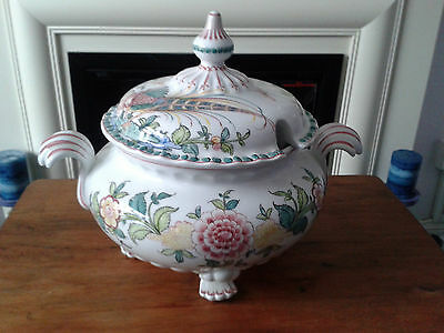 Grand Vintage Glazed & Hand Painted Ceramic Tureen From Portugal