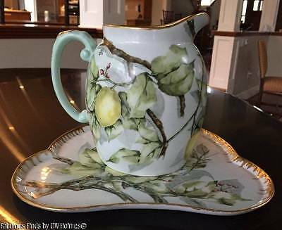 Antique LIMOGES Hand Painted LEMON TREE Large Pitcher and Tray T&V CFH