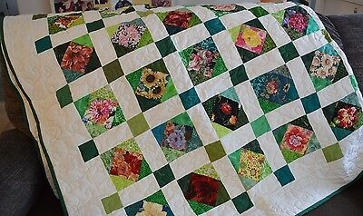 "New Beautiful Handmade Finished Quilt Named ""100 Different Flowers"" (85"" X 82"")"