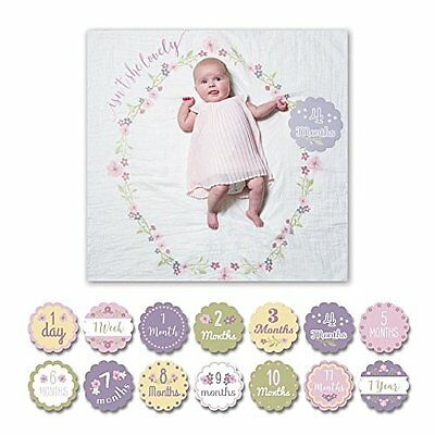 lulujo Baby Baby's First Year Milestone Blanket and Cards Set, Isn't She Lovely