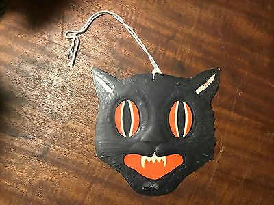 Vintage Halloween Die Cut Embossed Black Cat Face Fangs H.E. Luhrs