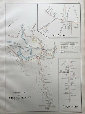 1893 J.l. Smith, Montgomery County Pa Green-Lane Borough Oaks Station Atlas Map