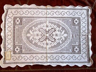 6 cotton Nottingham lace cream placemats from Victorian lace mill shabby chic