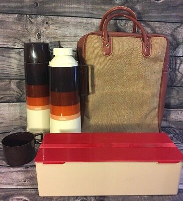Vintage Thermos Picnic Set 2 Sandwich Box Bag 70s Brown Gradient Coffee Lunch