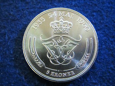 1960 Denmark Silver 5 Kroner - Choice Bright Uncirculated - Free U S Shipping