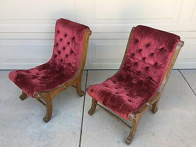 Vintage Empire Style Red Velvet Button Wood 2 Slipper Accent Chair