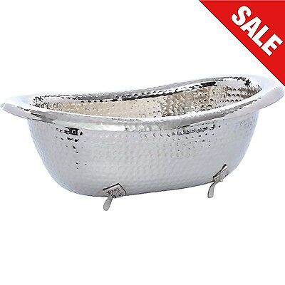 Large Wine Ice Bucket Champagne Bath Silver Hammered Finish