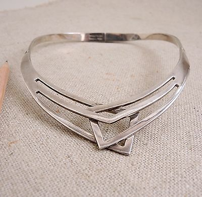 Taxco Sterling Silver Collar Modernist Necklace Hinged Mexico Modern Vtg 104g