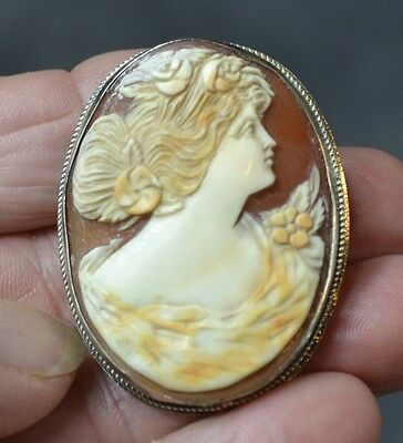 cameo cut shell silver lady 1.75 in. brooch pin Victorian  antique original