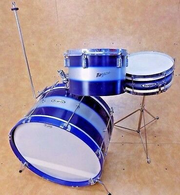 Vintage 1960's Rogers Classmate 3pc Drum Kit Shell Pack Blue Duco