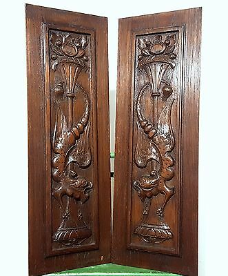 Carved Wood Panel Matched Pair Antique French Gothic Griffin Salvaged Carving