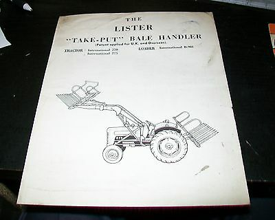 Lister Take-Put Bale Handler Instructions & Parts List Jan 1962 International