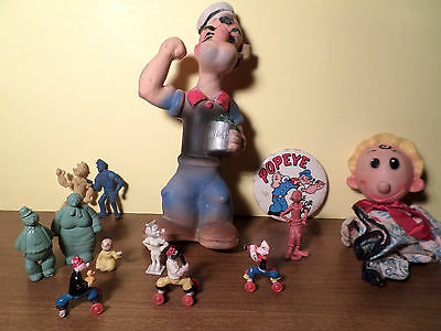 Popeye Collectibles: Squeeze Doll, Pez, Puppet, Badge, Figurines - A Steal!!!