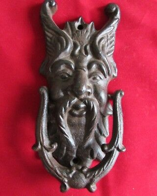 Large Cast Iron Door Knocker Green Man Gargoyle Demon Gothic Medieval