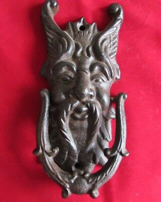 Large Cast Iron Door Knocker Green Man Gargoyle Demon Gothic Medievel